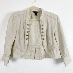 White House Black Market Cream Linen Blazer 10